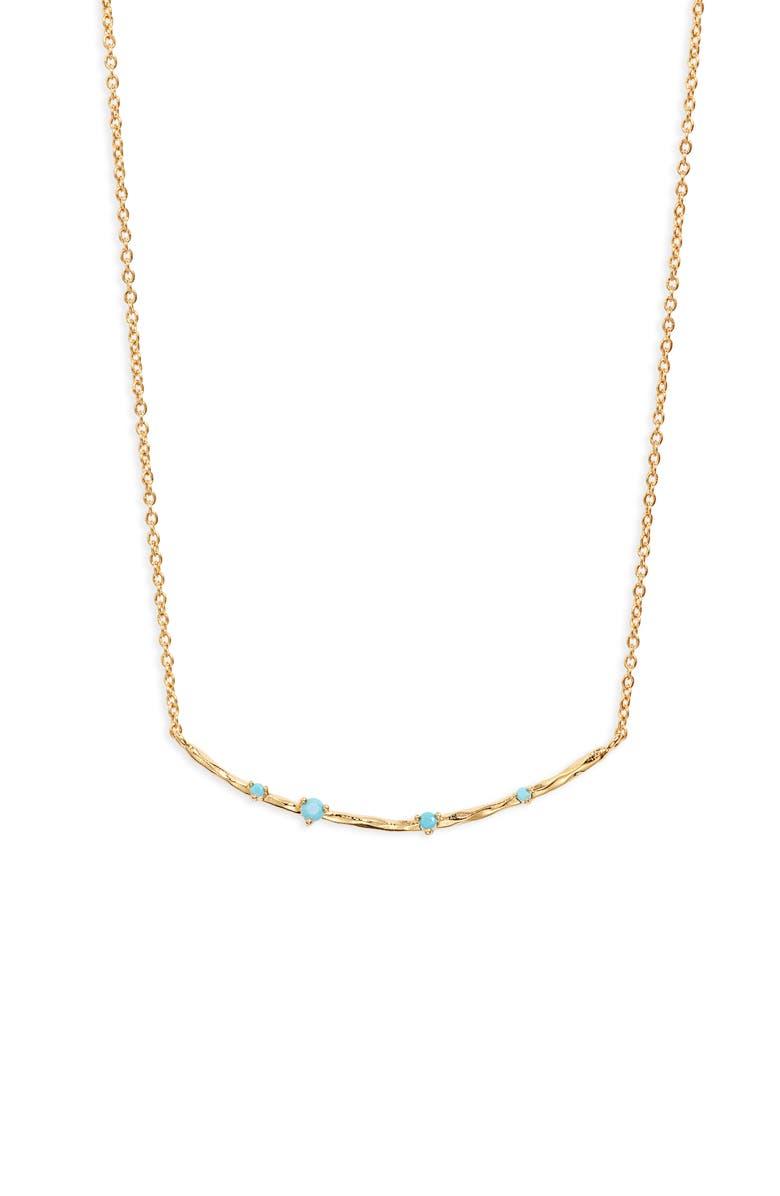 GORJANA Cleo Stone Bar Pendant Necklace, Main, color, BLUE TURQUOISE/ GOLD