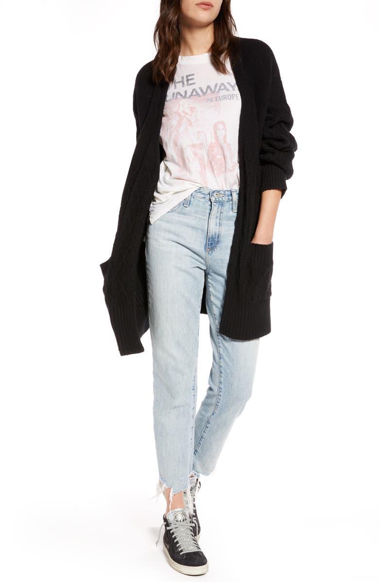 TREASURE & BOND Cable Knit Open Cardigan, Main, color, BLACK
