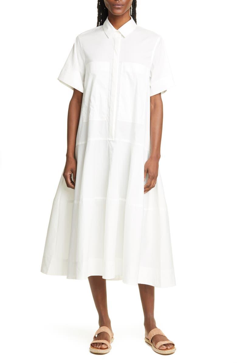 LEE MATHEWS Elsie Poplin Midi Shirtdress, Main, color, NATURAL