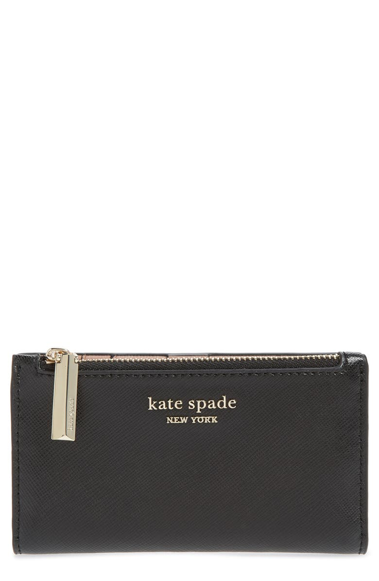 KATE SPADE NEW YORK small spencer saffiano leather bifold wallet, Main, color, BLACK
