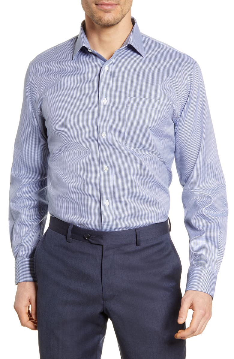 NORDSTROM MEN'S SHOP Smartcare<sup>™</sup> Traditional Fit Check Dress Shirt, Main, color, BLUE DEPTHS