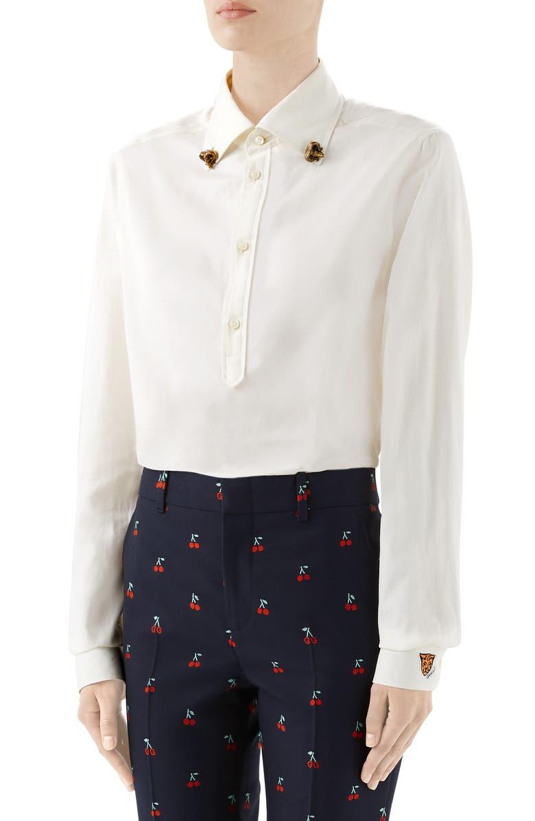 GUCCI Ram Button-Down Collar Cotton Shirt, Main, color, OFF WHITE