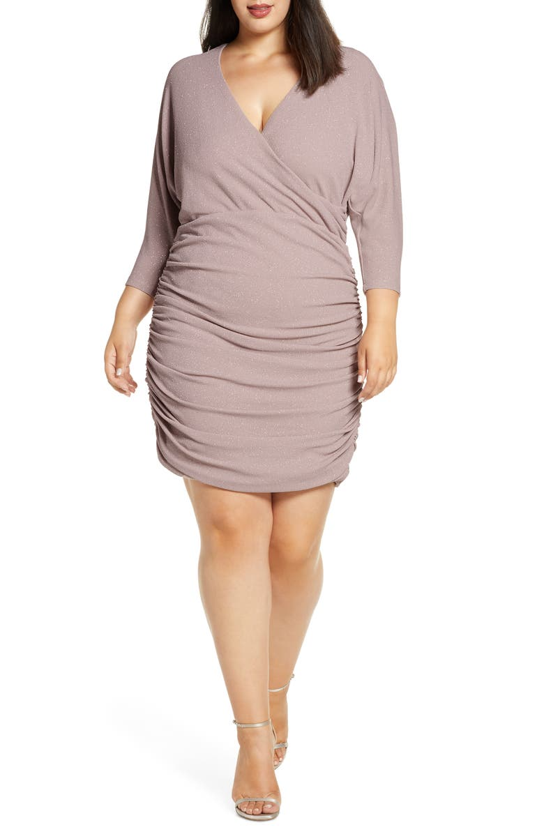 VINCE CAMUTO Ruched Glitter Knit Body-Con Dress, Main, color, BSH
