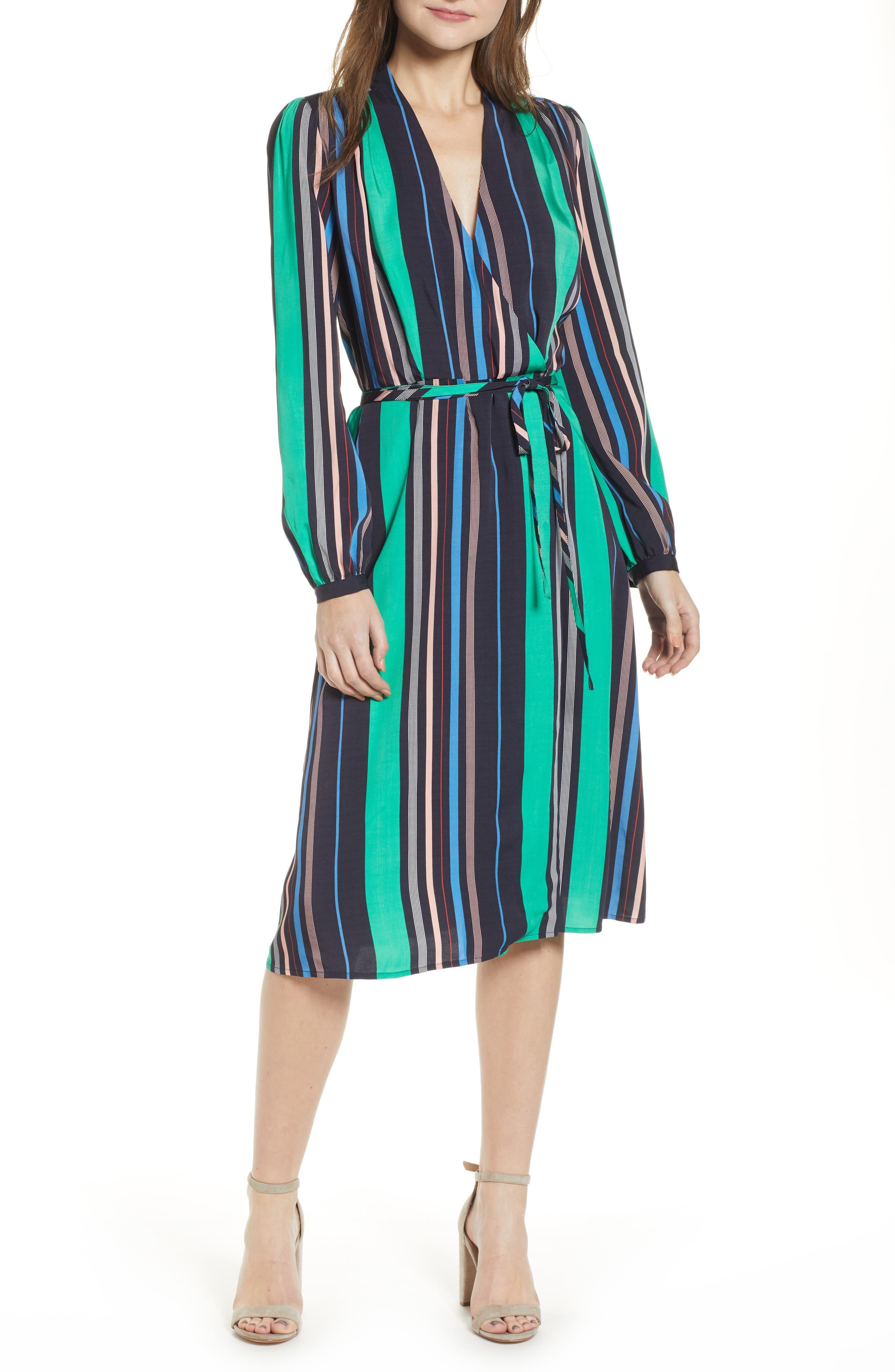 Chelsea28 Long Sleeve Midi Wrap Dress, Green