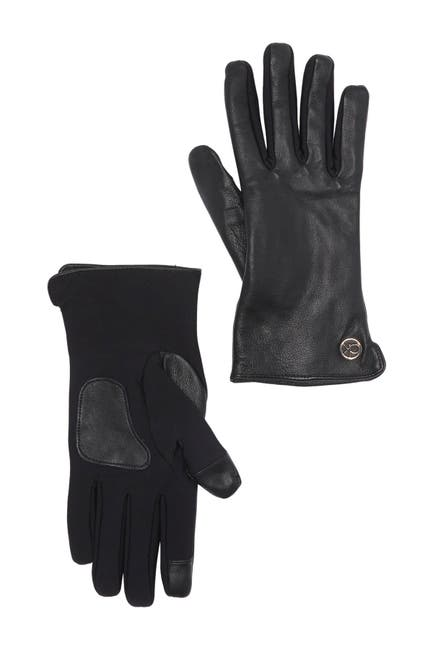Image of Calvin Klein Knit Palm Leather Gloves