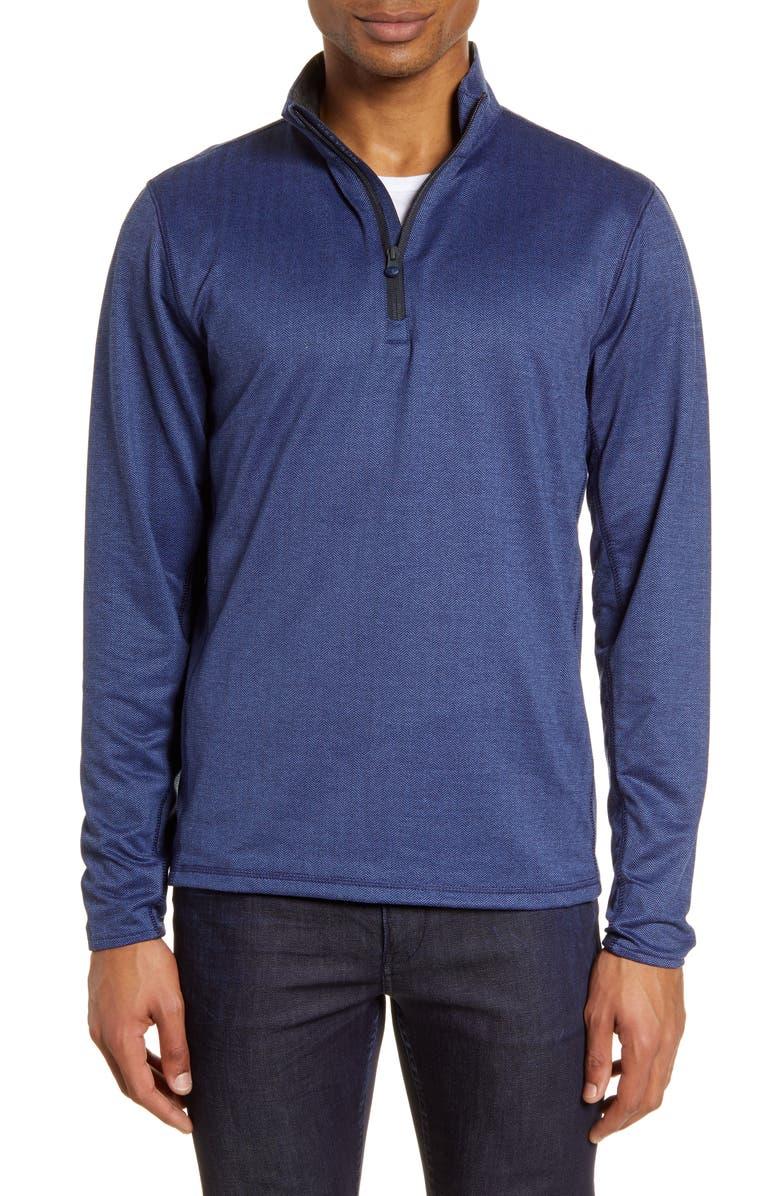 GREYSON Tate Quarter Zip Herringbone Knit Pullover, Main, color, NAVY HERRINGBONE