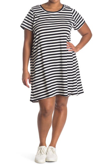 Image of Bobeau Striped T-Shirt Dress