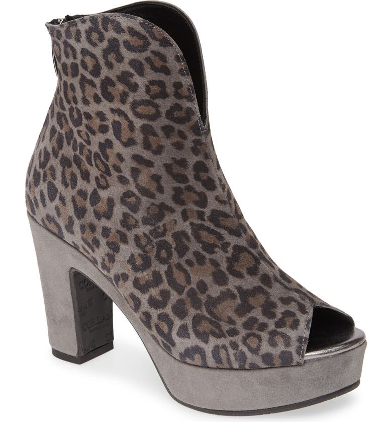 CORDANI Tabbi Peep Toe Bootie, Main, color, GREY CHEETAH SUEDE