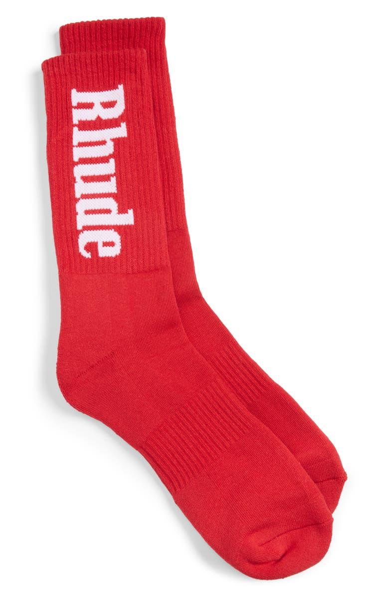 RHUDE Vertical Print Socks, Main, color, RED/ WHITE