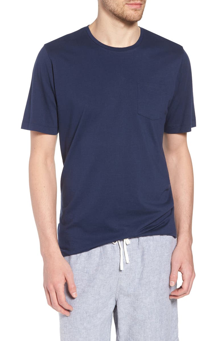 1901 Brushed Pima Cotton Slim Fit T-Shirt, Main, color, NAVY IRIS