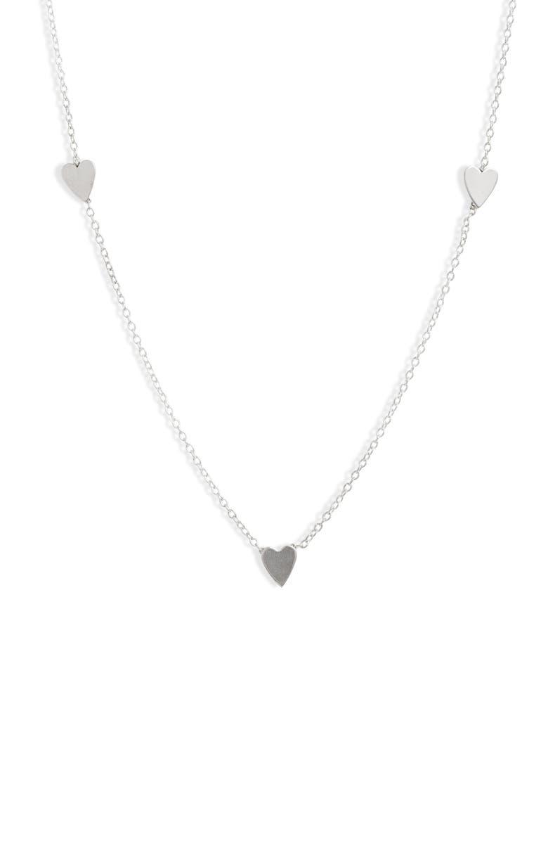 SET & STONES Amy Heart Necklace, Main, color, SILVER
