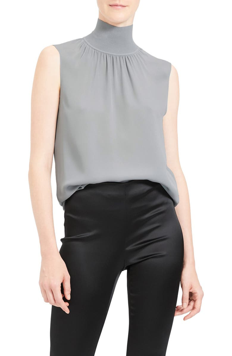 THEORY Mock Neck Silk Shell, Main, color, MIST BLUE