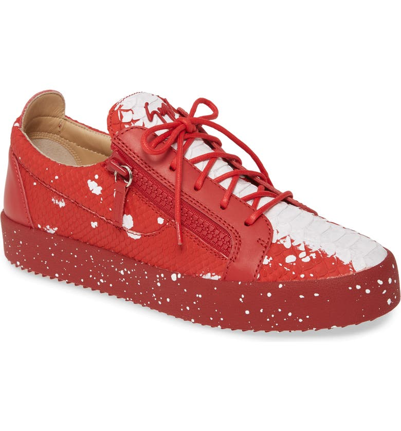 GIUSEPPE ZANOTTI Embossed Low Top Sneaker, Main, color, WHITE/ RED