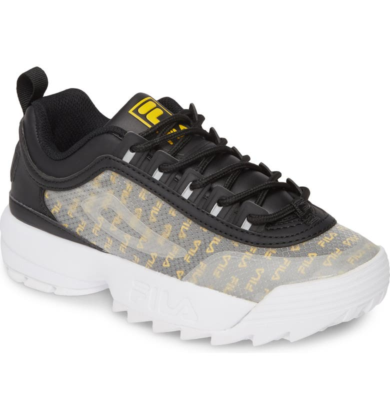 FILA Disruptor II Clear Logo Sneaker, Main, color, BLACK/ WHITE/ GOLD