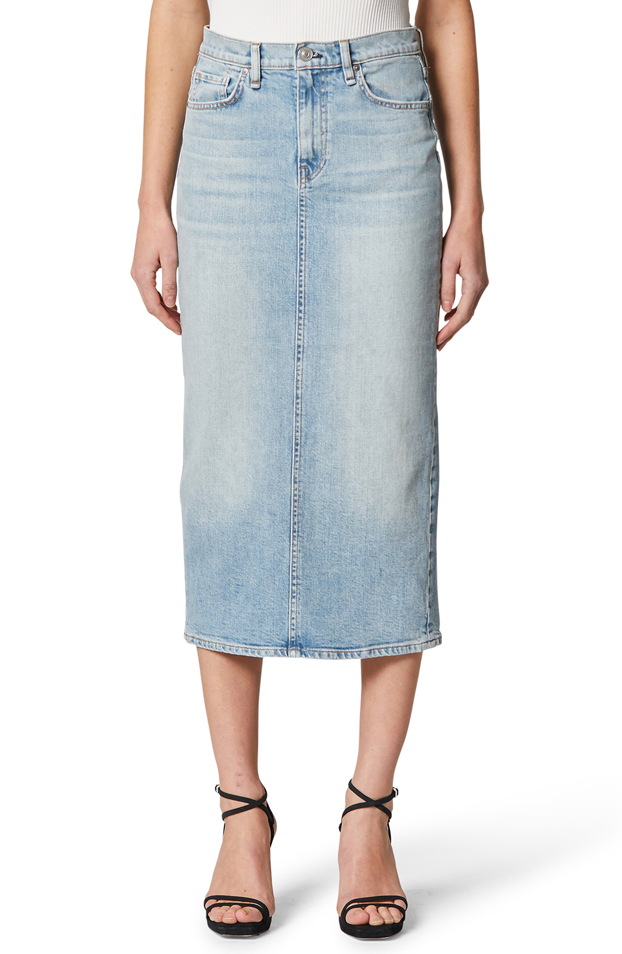 Designed with classic five-pocket styling and signature back pocket stitching, this midi-length denim skirt stands out with a soaring back slit. Style Name: Hudson Jeans Paloma Denim Pencil Skirt. Style Number: 6011103. Available in stores.