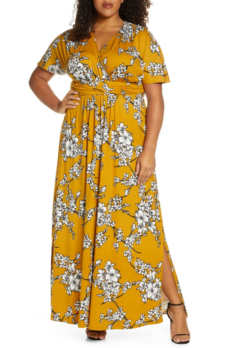 KIYONNA Vienna Maxi Dress, Main, color, GOLDEN FLORAL PRINT