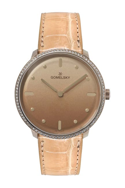 Image of Gomelsky by Shinola Audry Stainless Steel Case Genuine Alligator Strap Watch, 36mm - 0.39 ctw