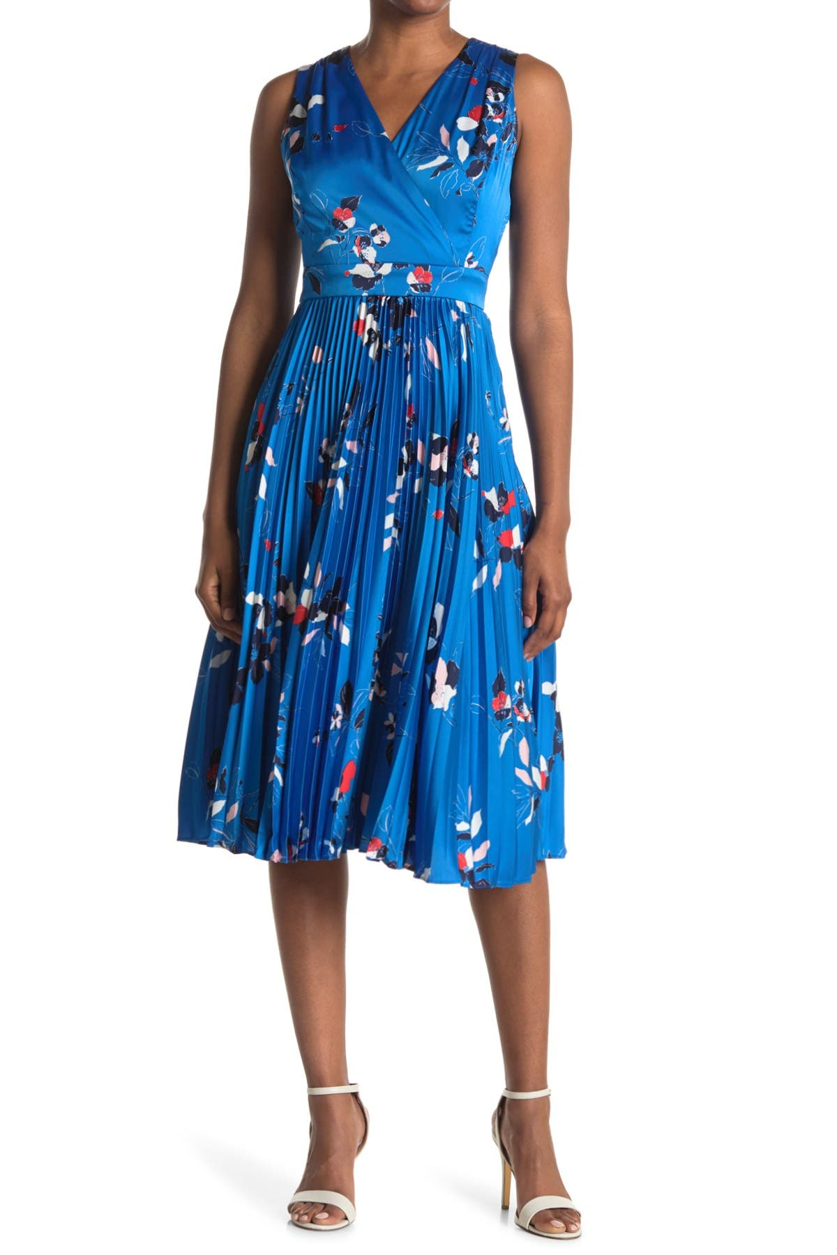 Image of Maggy London Floral Sleeveless Pleated Midi Dress