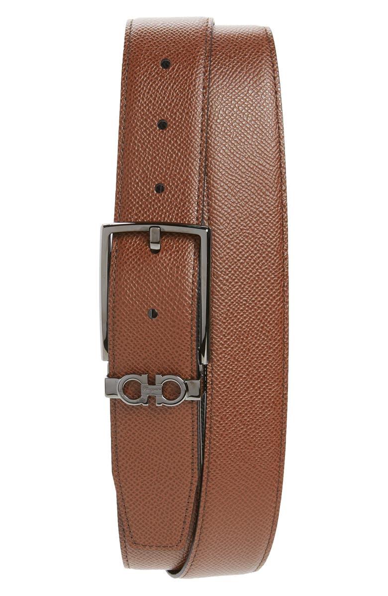 SALVATORE FERRAGAMO Reversible Leather Belt, Main, color, RADICA TAN / NERO