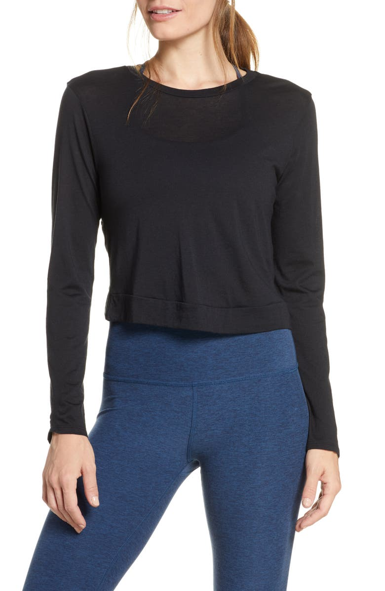 BEYOND YOGA Back Out Crop Pullover, Main, color, BLACK