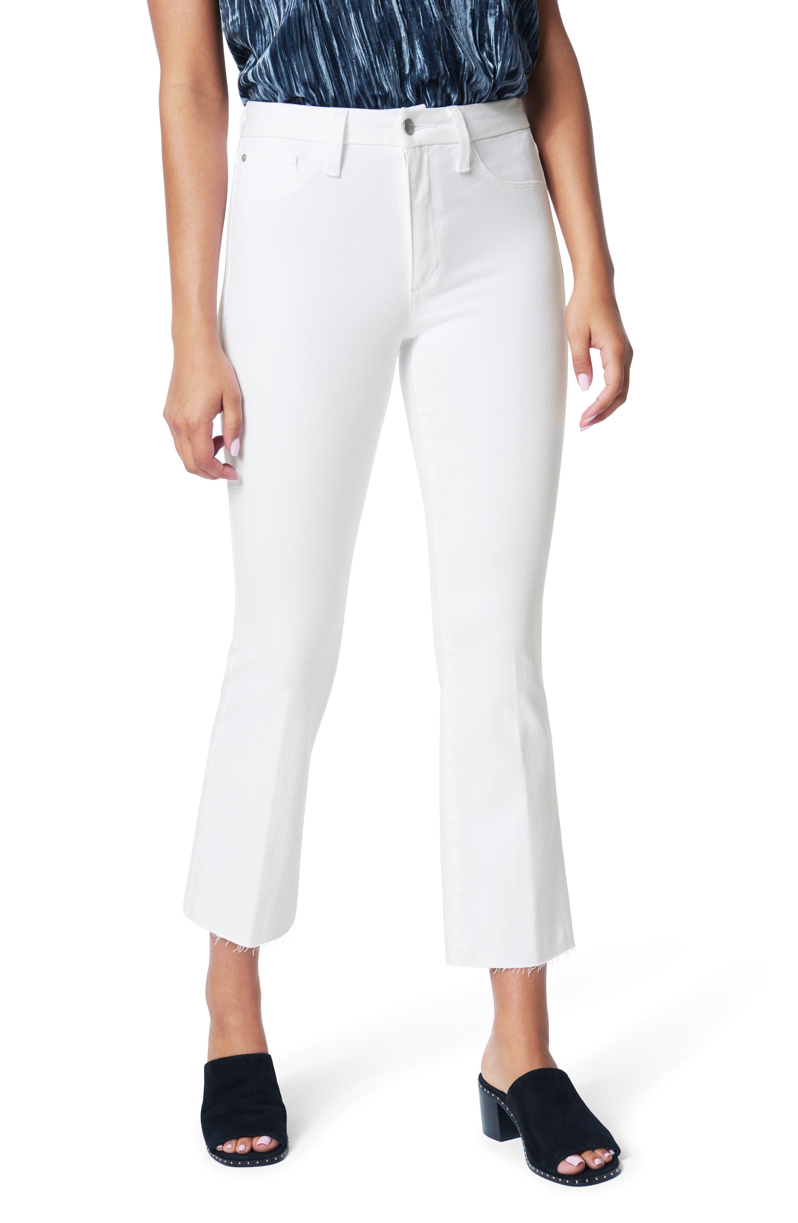 Women's Joe's The Hi Honey High Waist Raw Hem Crop Bootcut Jeans,  28 - White