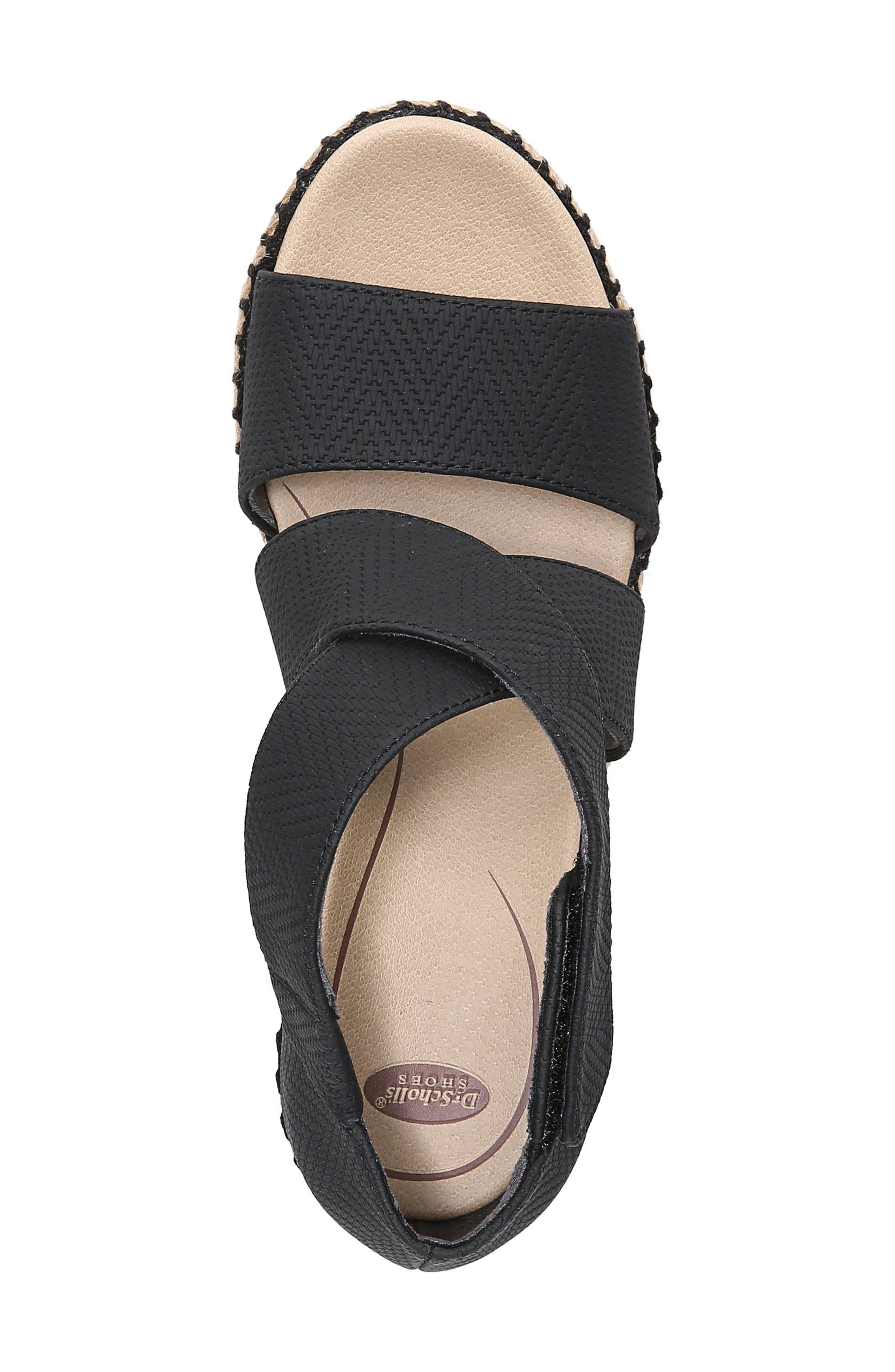 ,                             Vacay Wedge Sandal,                             Alternate thumbnail 5, color,                             BLACK FAUX LEATHER