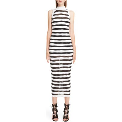 Balmain Stripe Knit Midi Dress, 8 FR - White