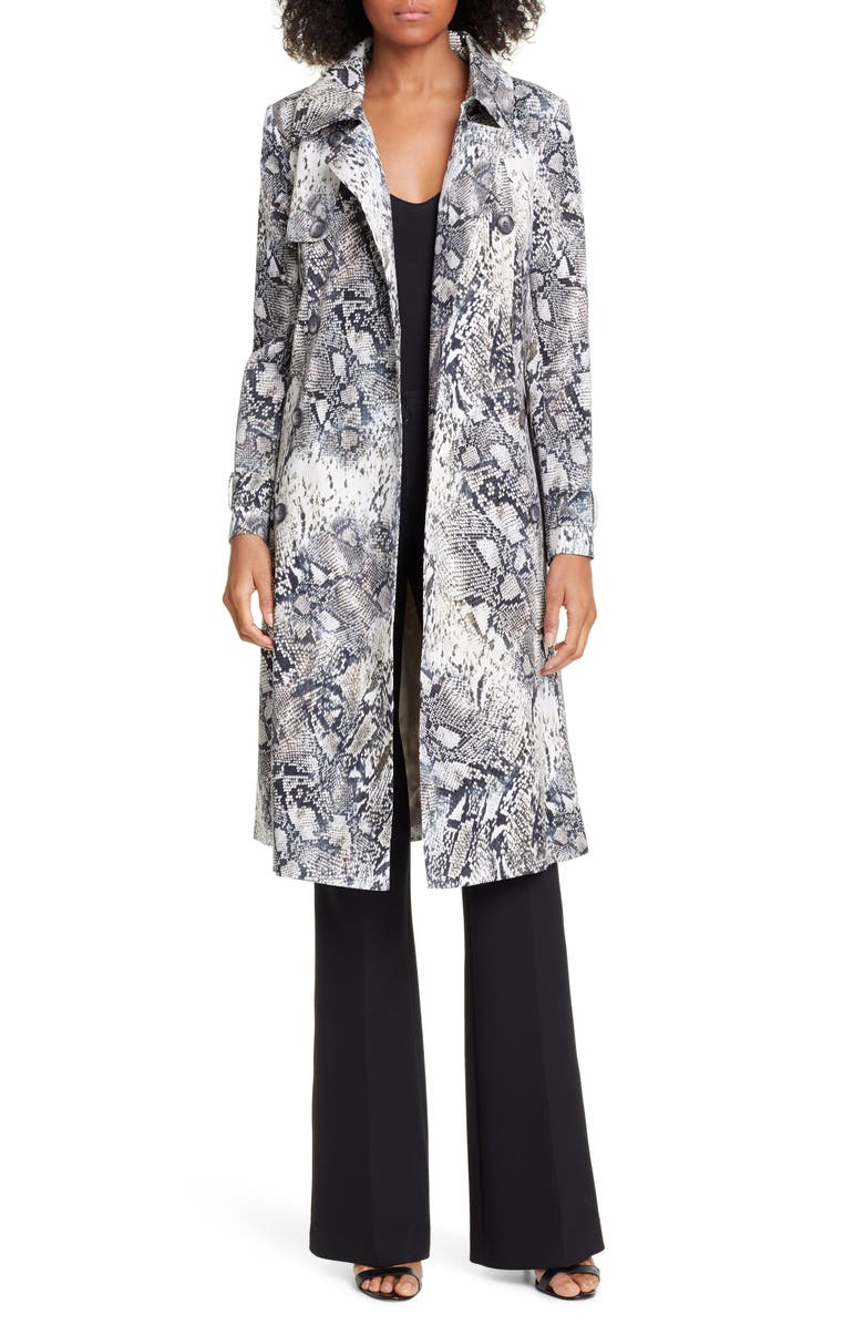 HELENE BERMAN Snake Print Double Breasted Stretch Cotton Trench Coat, Main, color, 001
