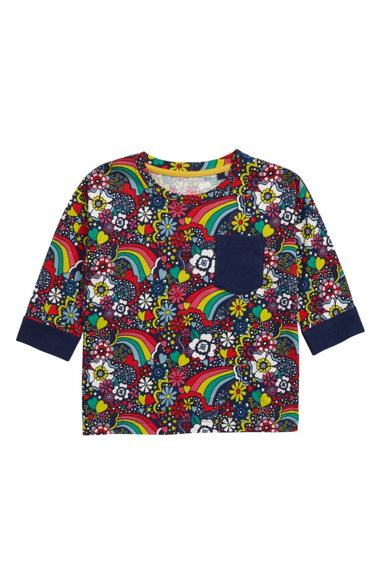 MINI BODEN Print Shirt, Main, color, COLLEGE BLUE SIXTIES RAINBOW