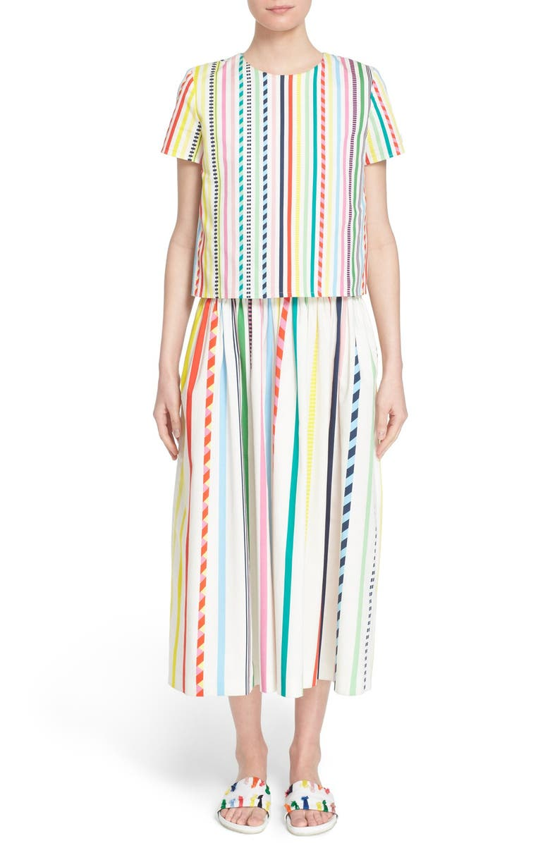 MIRA MIKATI Candy Stripe Print Popover Dress, Main, color, 999