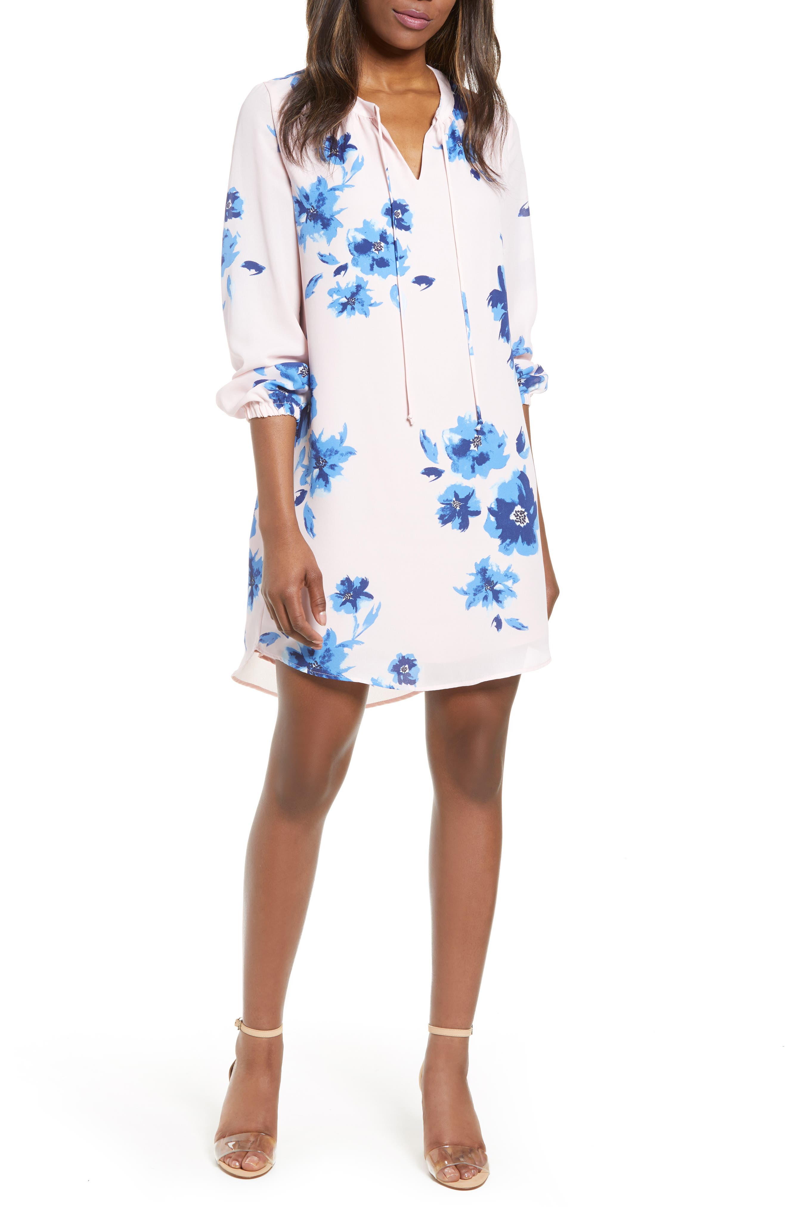 ,                             x Living in Yellow Holly Split Neck Long Sleeve Shirtdress,                             Main thumbnail 1, color,                             WATER FLORAL BLUSH