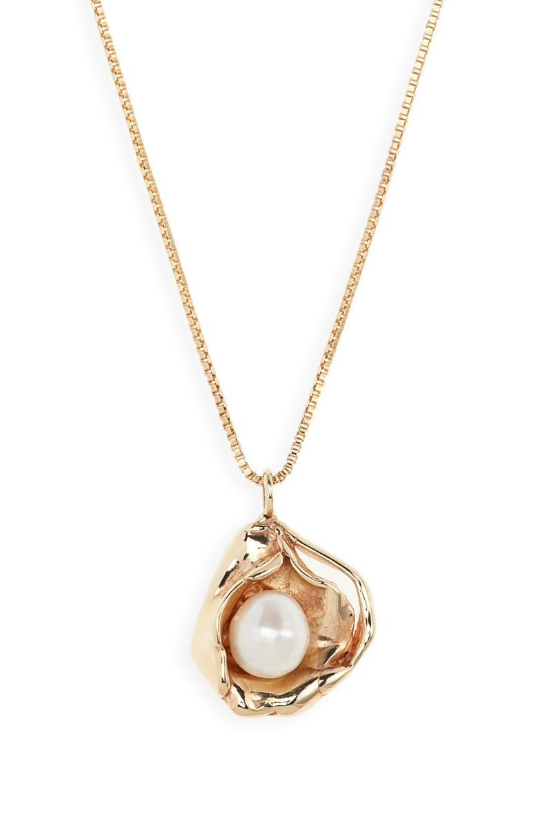 FARIS Madre Pearl Pendant Necklace, Main, color, BRONZE/ PEARL