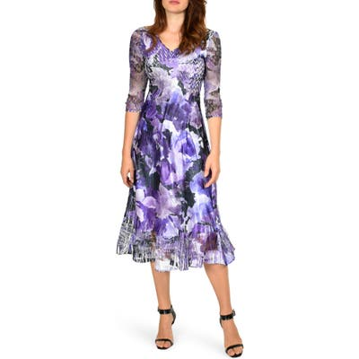 Komarov Floral Chiffon & Charmeuse Dress, Purple