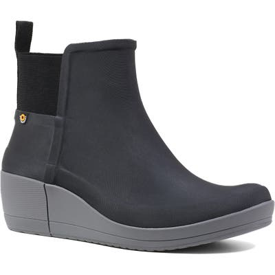Bogs Vista Waterproof Wedge Rain Bootie, Black