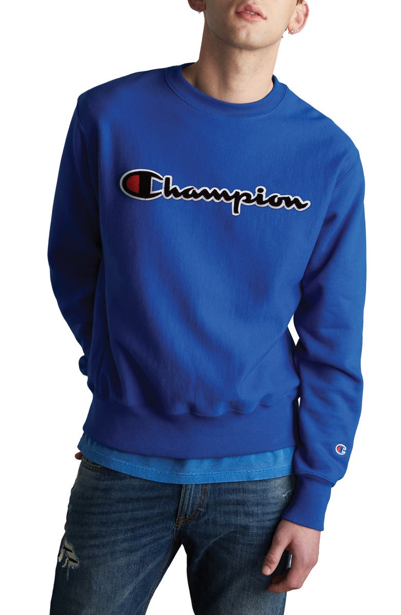 CHAMPION Chenille Logo Reverse Weave Sweatshirt, Main, color, SURF THE WEB