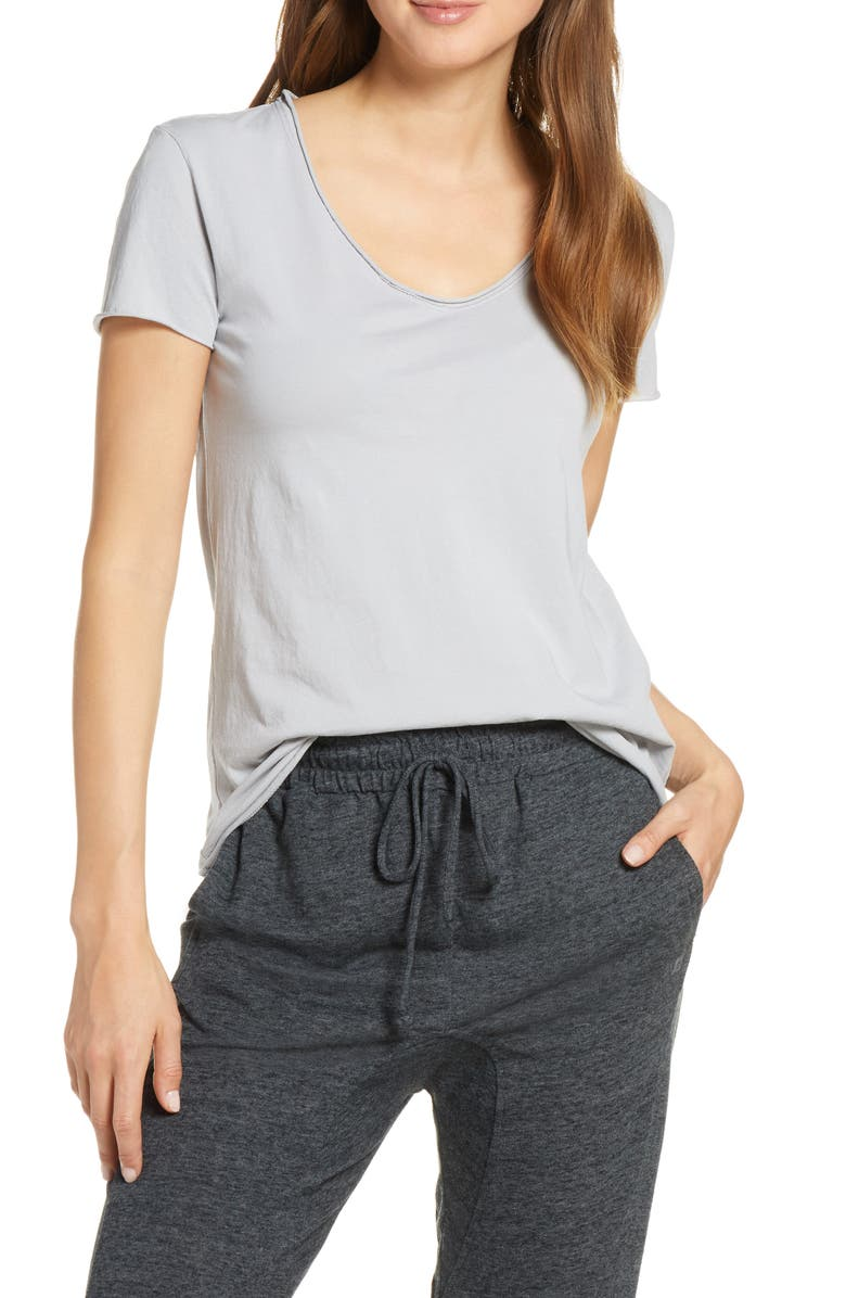JOE'S Raw Edge V-Neck Tee, Main, color, SAND GREY