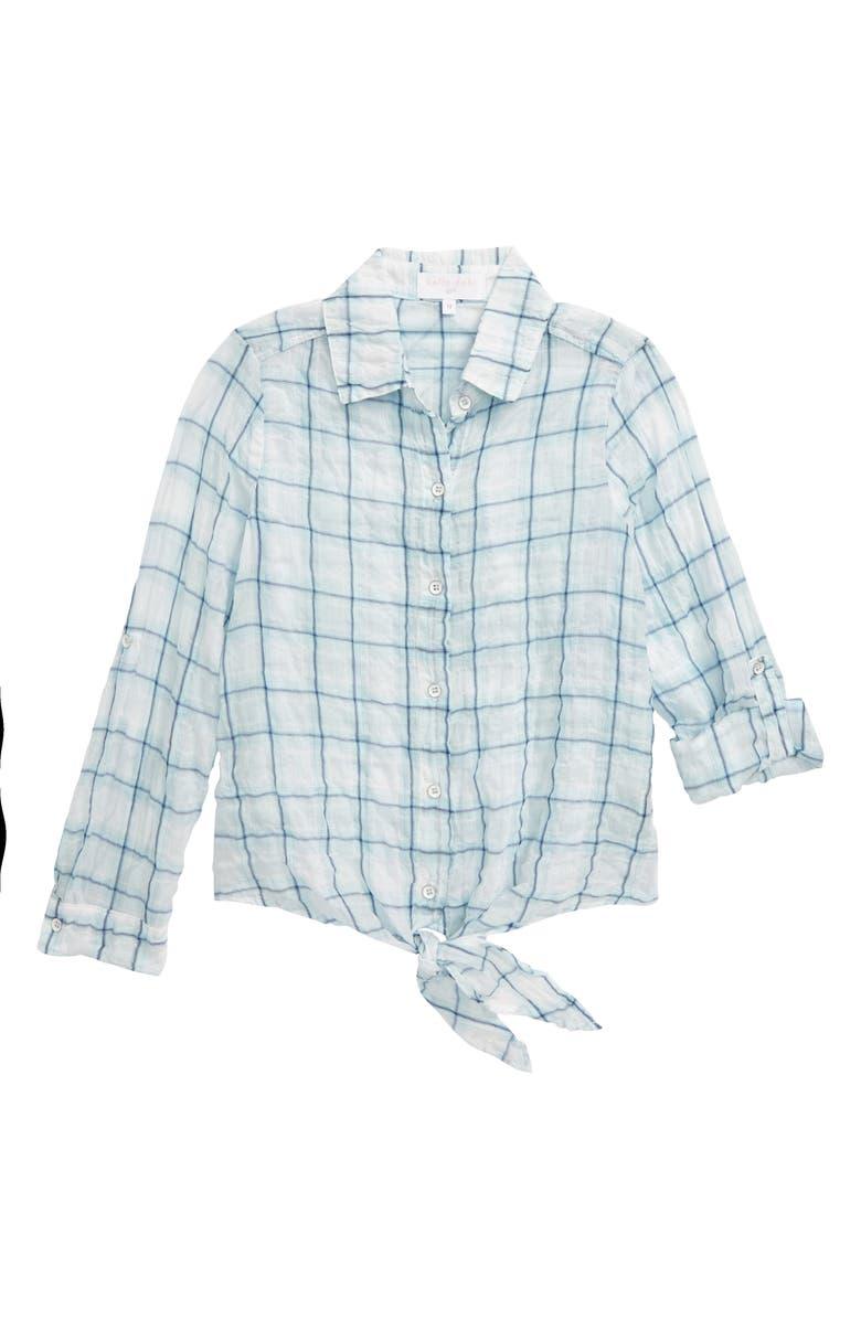 BELLA DAHL Check Tie Front Roll Sleeve Shirt, Main, color, AQUA