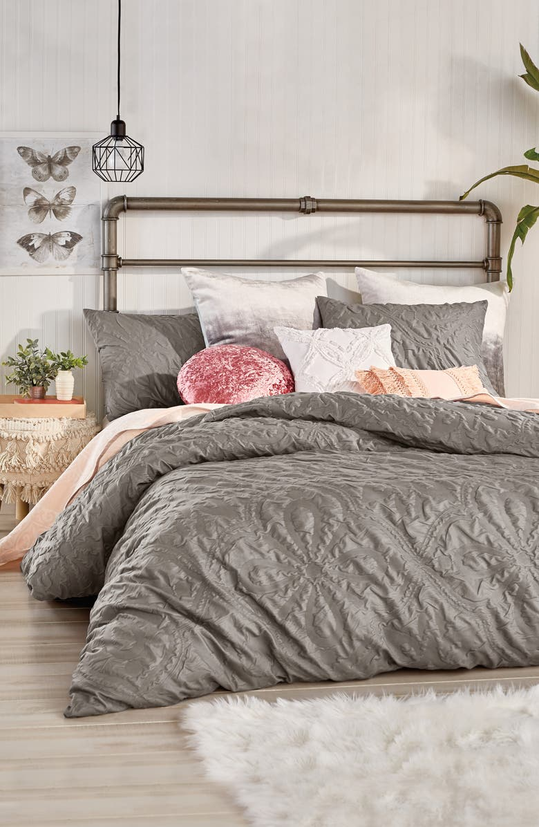 PERI HOME Velvet Tile Comforter & Sham Set, Main, color, GREY