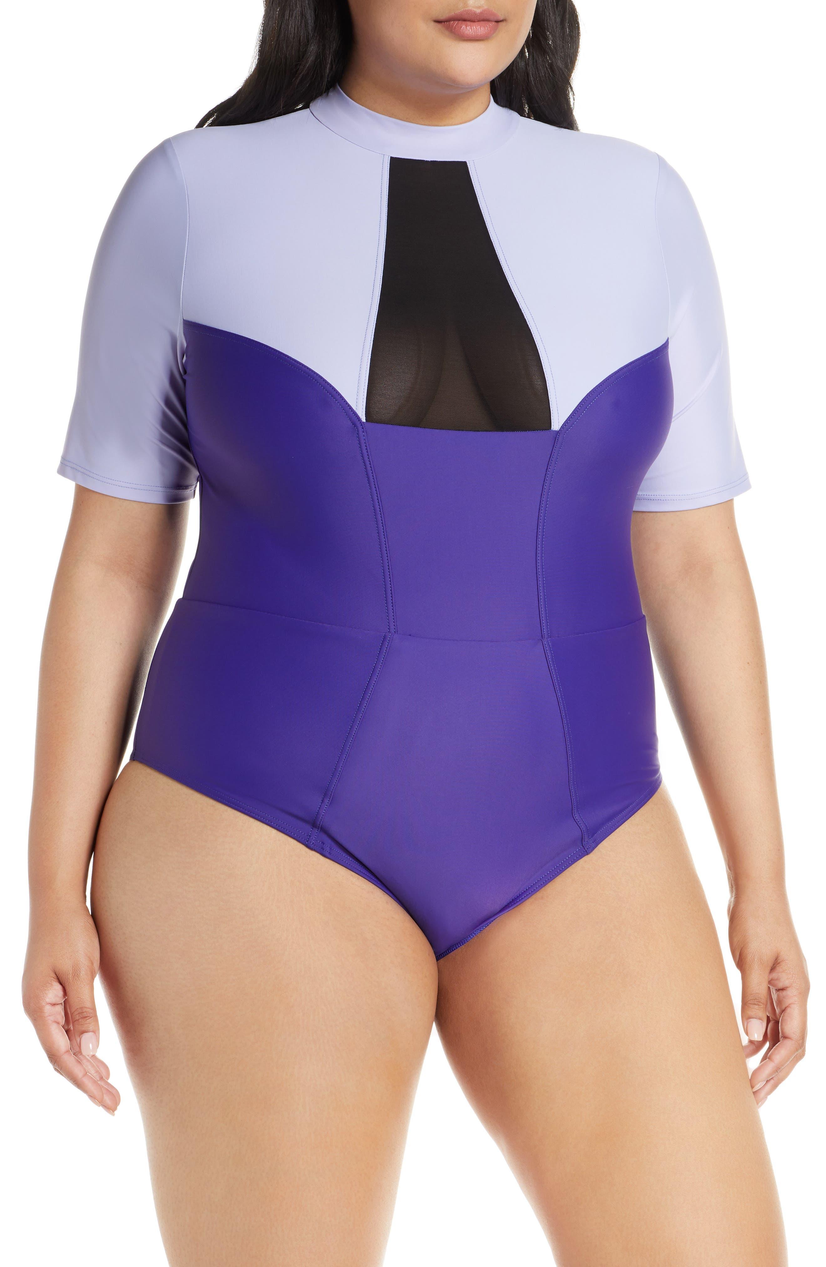 Plus Size Chromat Tidal Ii Ilusion Detail One-Piece Swimsuit, Purple