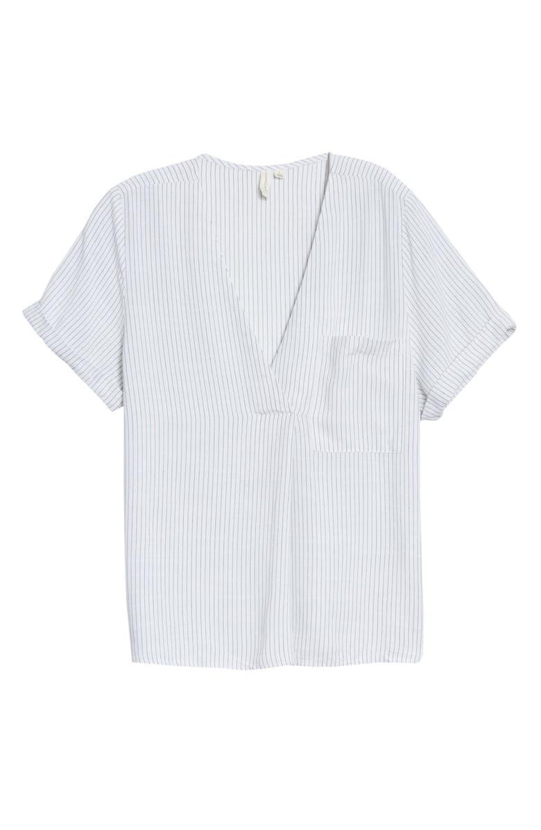 TREASURE & BOND Stripe V-Neck Top, Main, color, WHITE- BLUE VIS STRIPE