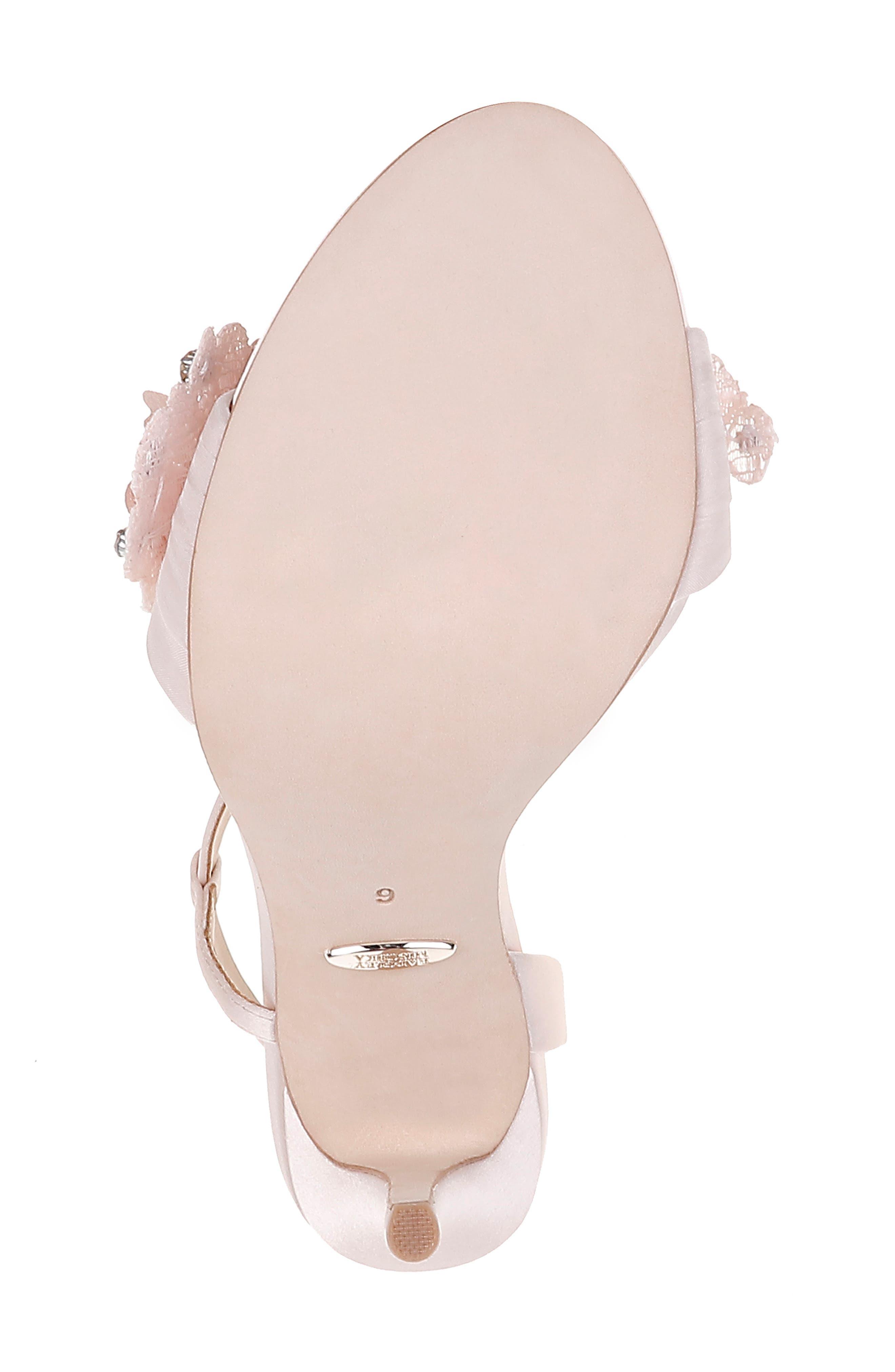 ,                             Badgley Mischka Forever Flower Sandal,                             Alternate thumbnail 6, color,                             LIGHT PINK SATIN