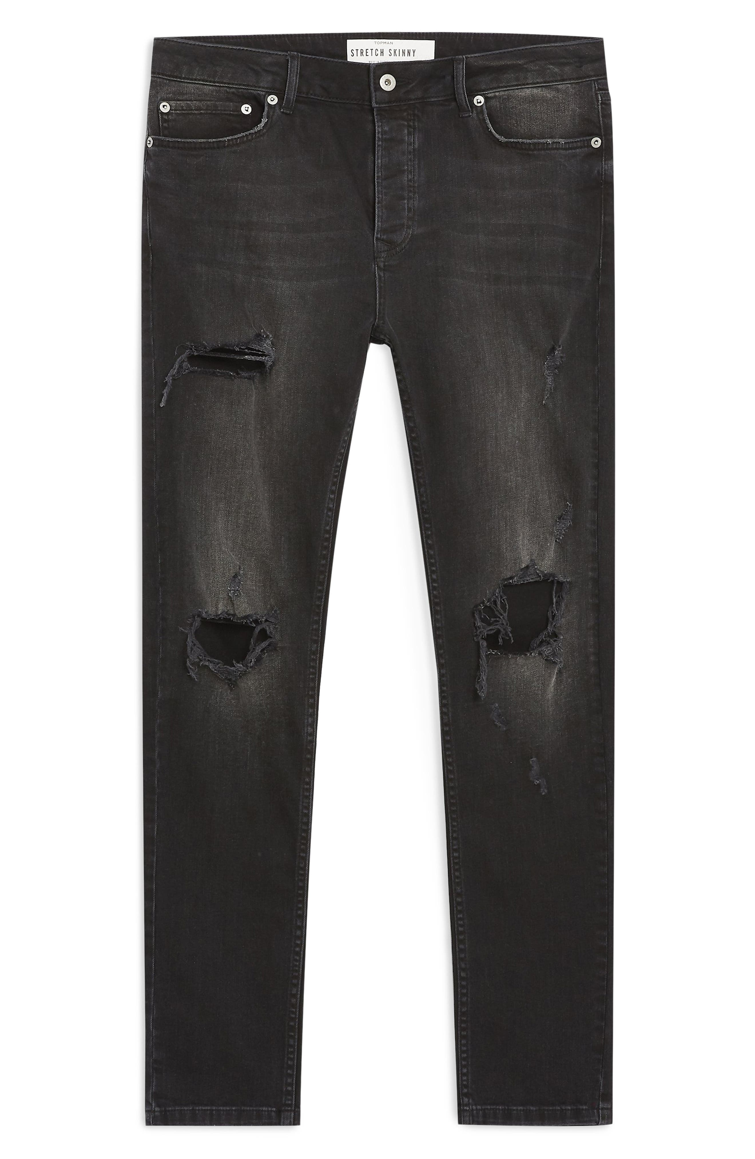 ,                             Ripped Skinny Fit Jeans,                             Alternate thumbnail 5, color,                             WASHED BLACK