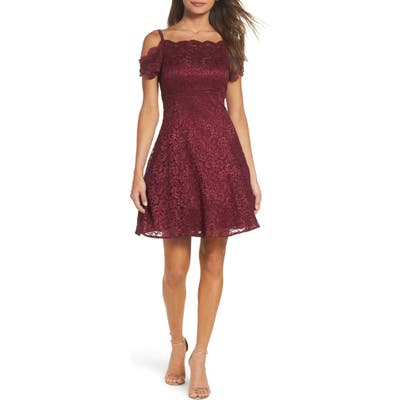 Morgan & Co. Cold Shoulder Glitter Lace Fit & Flare Dress, /4 - Burgundy