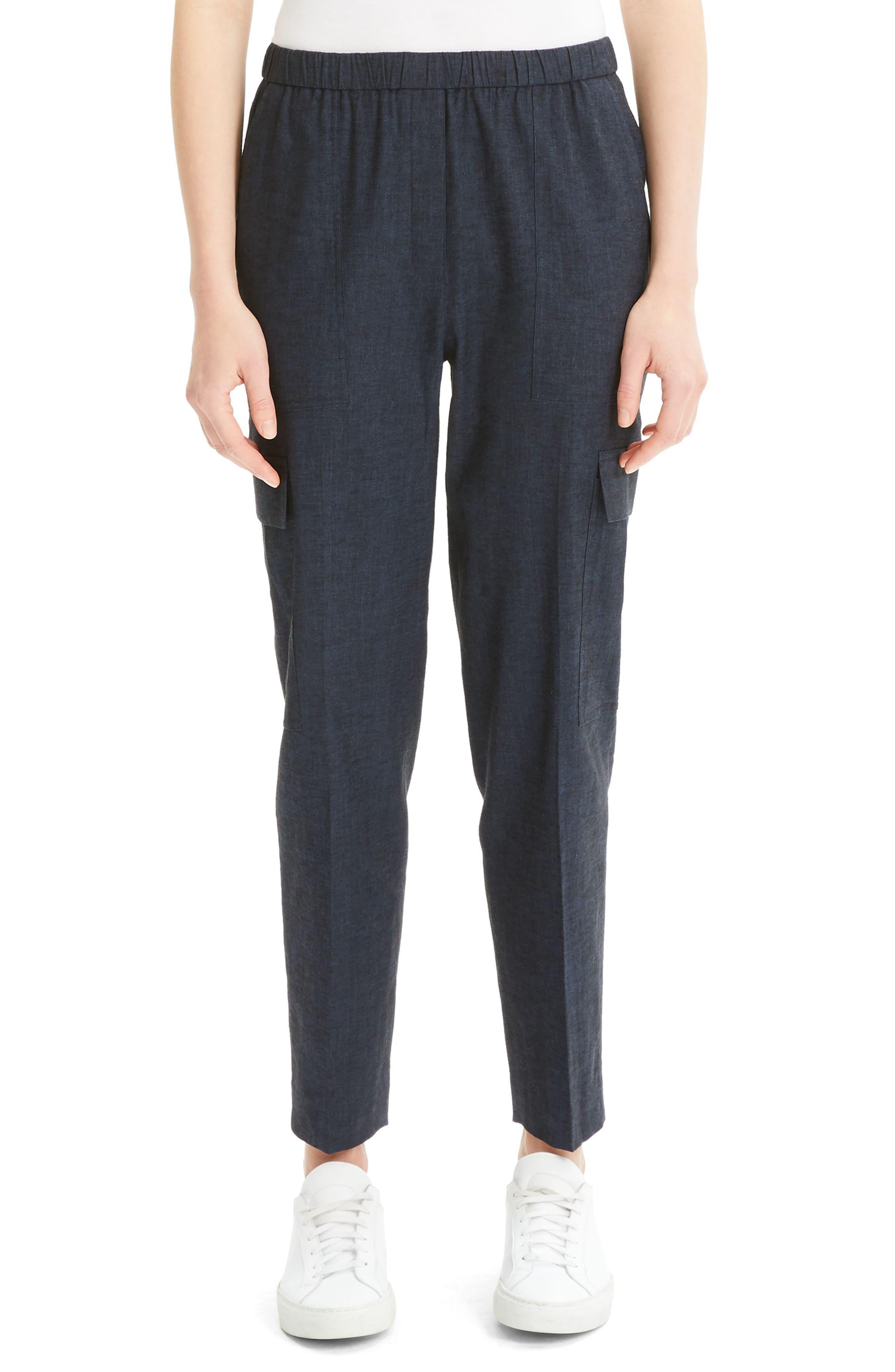 Theory Linen Blend Cargo Pants, Blue