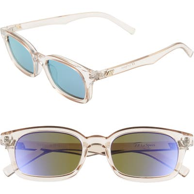 Le Specs Carmito 51Mm Rectangle Sunglasses - Stone/ Violet Mirror