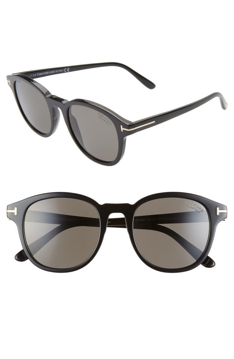 TOM FORD Jameson 52mm Polarized Round Sunglasses, Main, color, SHINY BLACK/ SMOKE