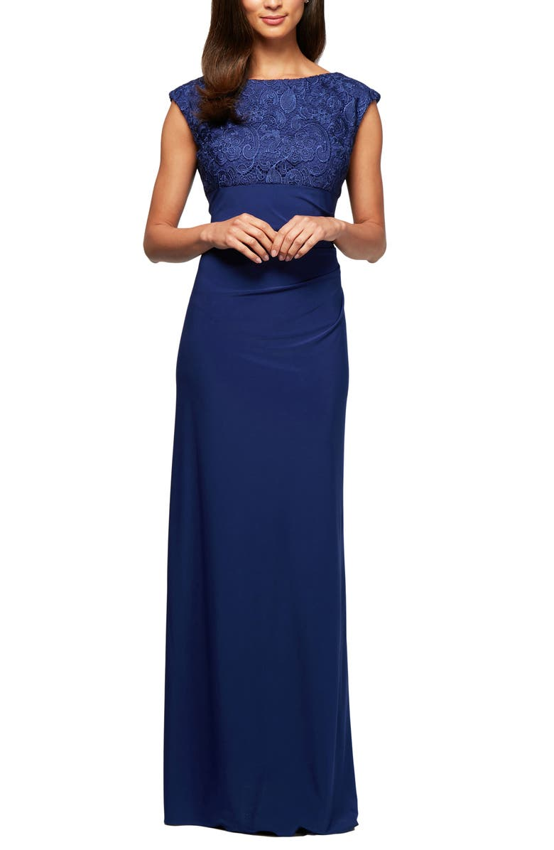 ALEX EVENINGS Ruched Gown, Main, color, ROYAL