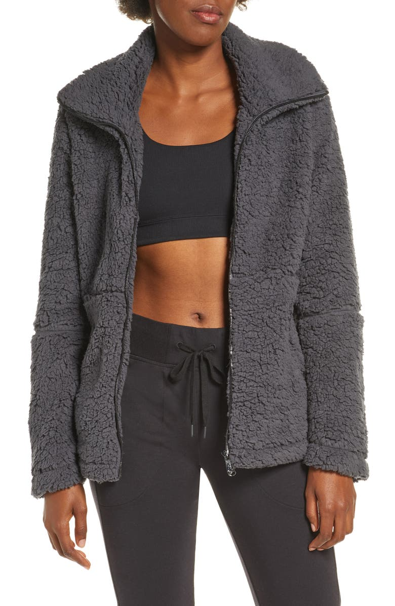 ZELLA Sadie Fleece Jacket, Main, color, GREY FORGED