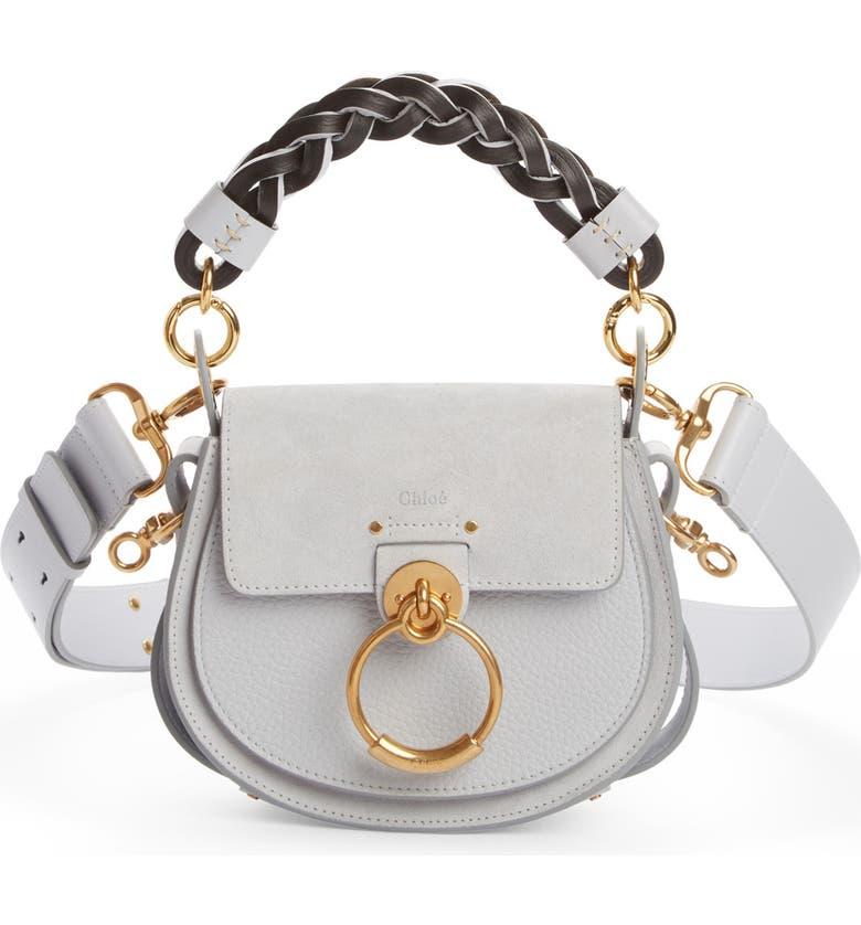 CHLOÉ Small Tess Calfskin Leather Shoulder Bag, Main, color, LIGHT CLOUD