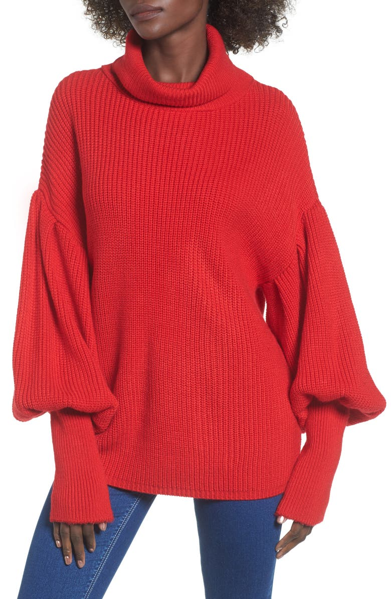 TOPSHOP Balloon Sleeve Turtleneck Sweater, Main, color, 600